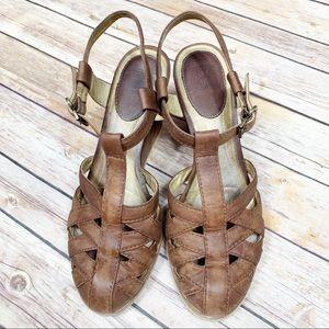 Frye Maye Leather Wedge Sandals